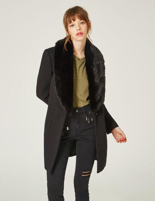 Black coat with faux fur collar