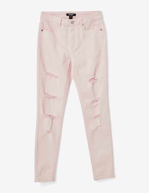 Light pink distressed skinny trousers