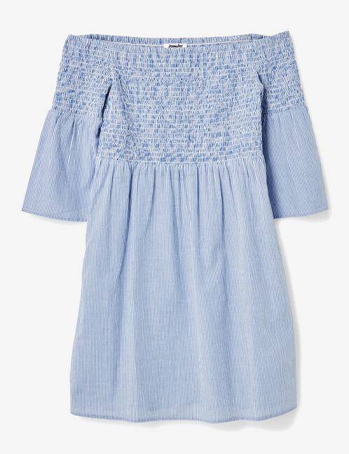 robe épaules dénudées rayé bleu clair et blanc