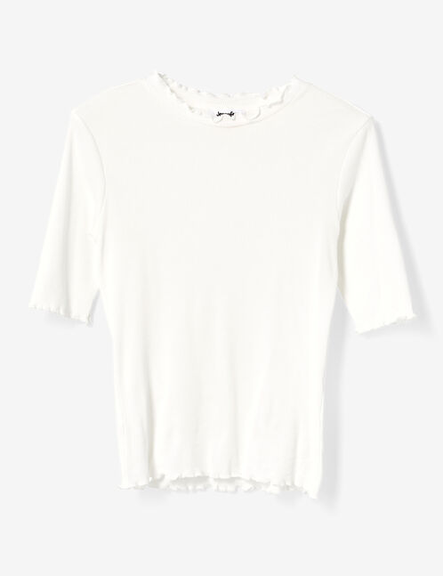 tee-shirt basic côtelé écru