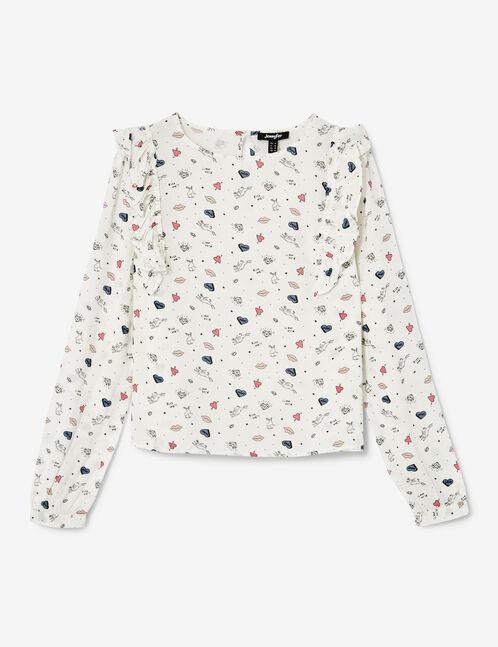 blouse mix d'imprimés écrue