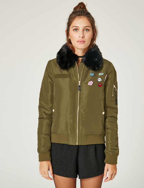 Khaki bomber jacket with pin detail
