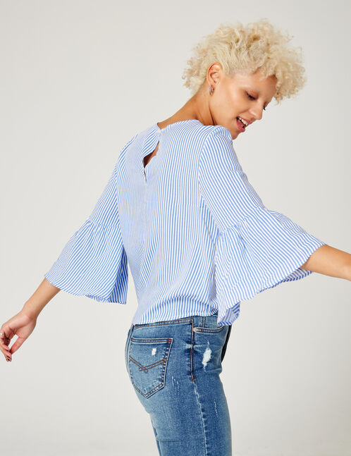 Blue and white striped blouse with pearl detail