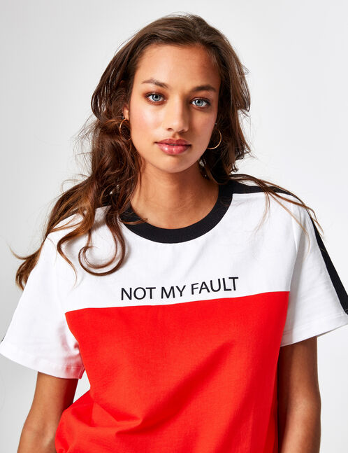 Red, white and black tricolour sweatshirt with text design detail