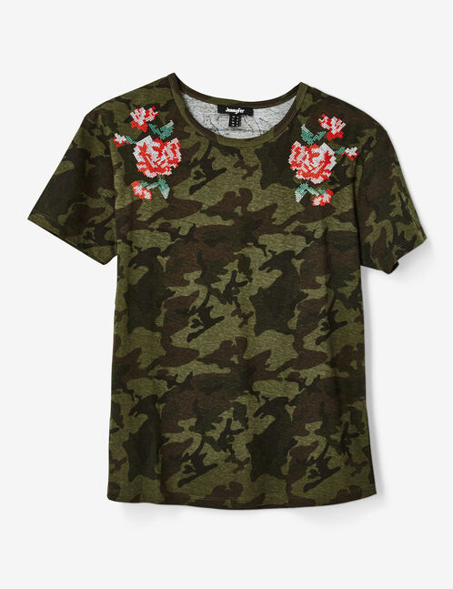 tee-shirt brodé kaki camouflage