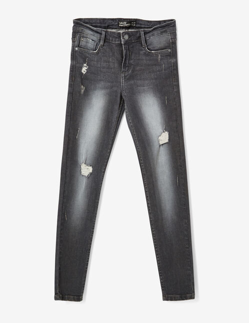 Charcoal grey low-rise skinny jeans