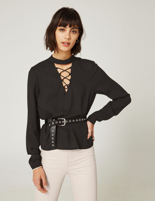 Black blouse with lacing detail