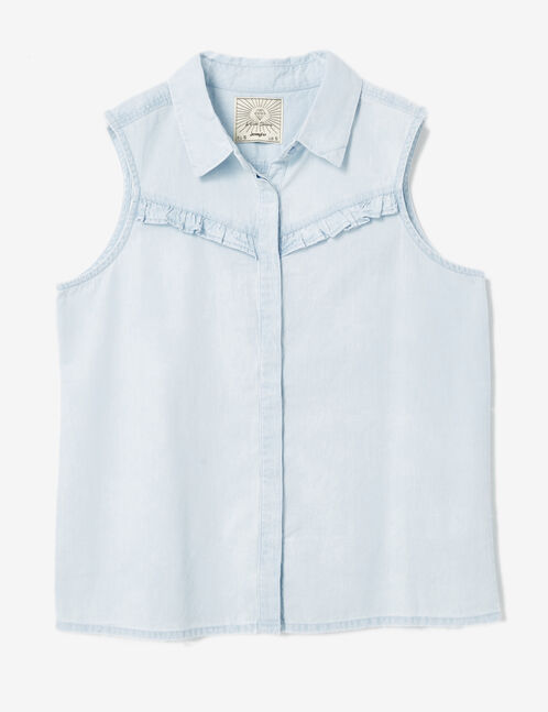 Light blue blouse with frill detail