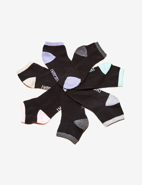 Black and multicoloured text design socks