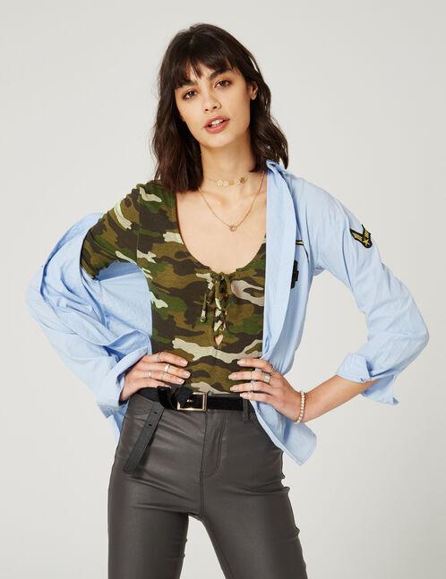 Khaki camouflage bodysuit with lacing detail
