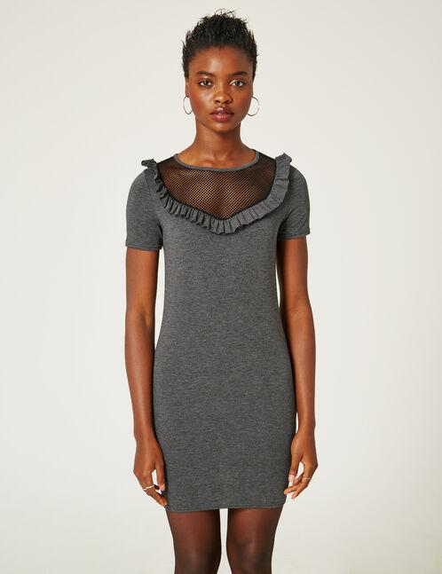 robe avec résille et volant gris anthracite chiné