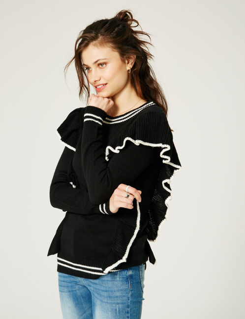 Black and cream two-tone jumper with frill detail