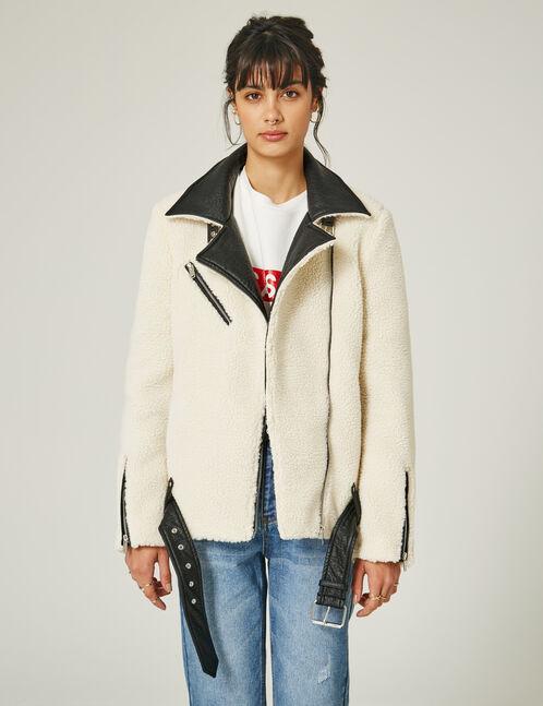 Cream faux fur biker jacket