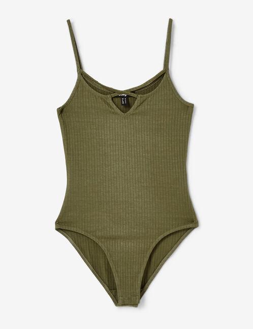 Khaki bodysuit with strap detail