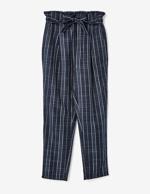 pantalon à carreaux bleu marine