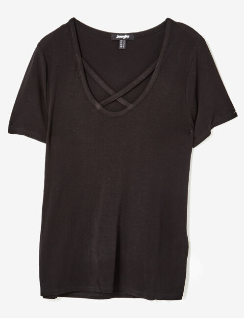 Black T-shirt with strappy detail