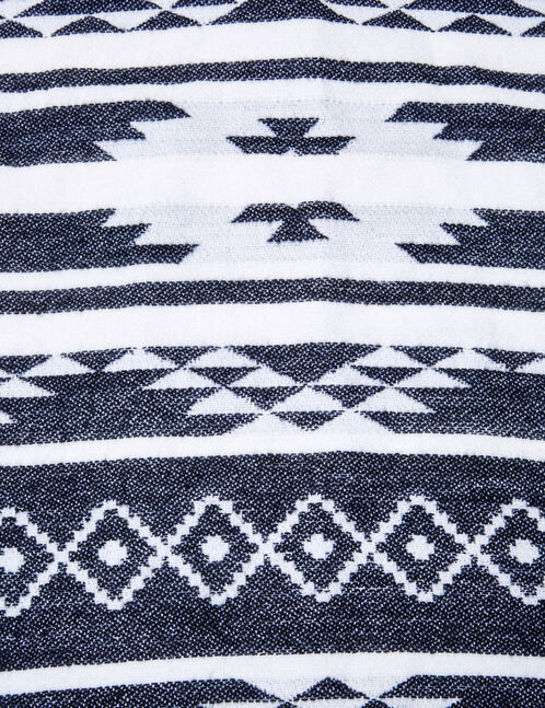 Cream and black Aztec-patterned snood