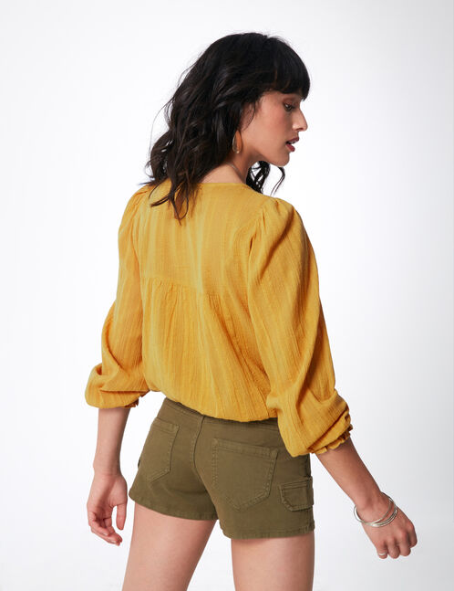 Ochre shirt with embroidery detail