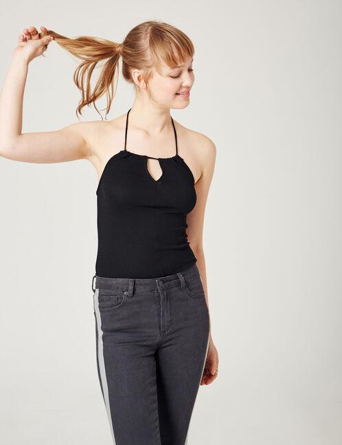Black open-back bodysuit