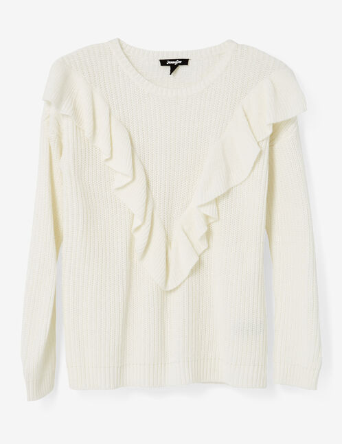 Cream jumper with frill detail