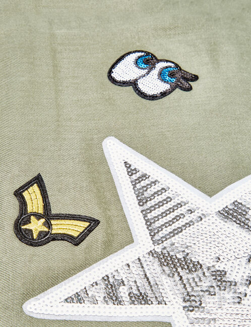 Khaki scarf with patch detail