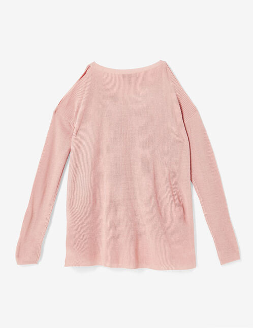 Light pink lightweight jumper with cut-out shoulders