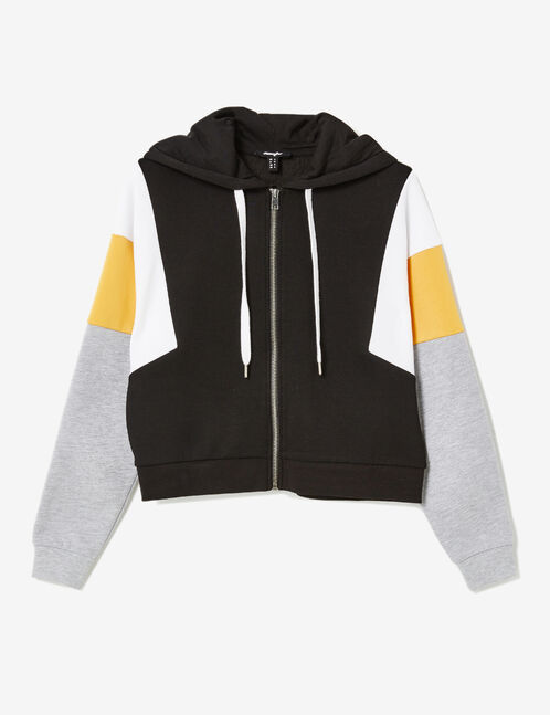 Black, white, ochre and grey marl zip-up hoodie with panel detail