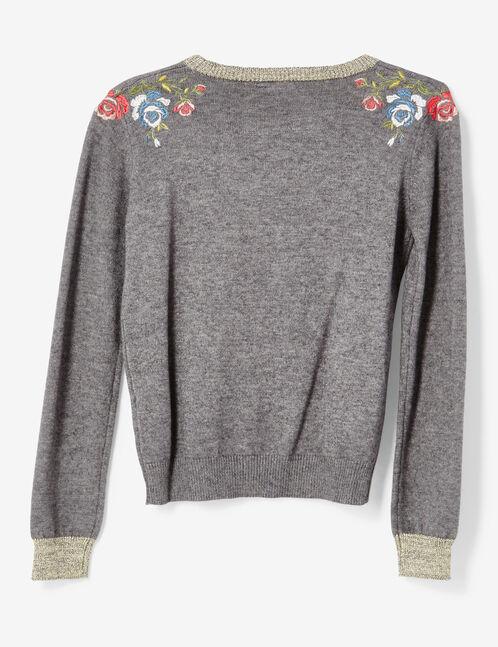 Grey marl embroidered jumper