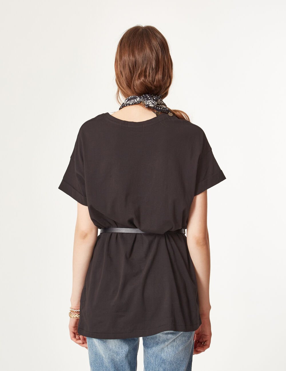 tee shirt long noir femme jennyfer. Black Bedroom Furniture Sets. Home Design Ideas