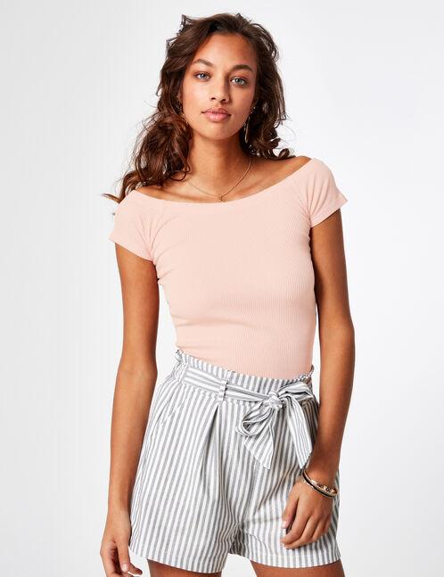 Light pink off-the-shoulder top