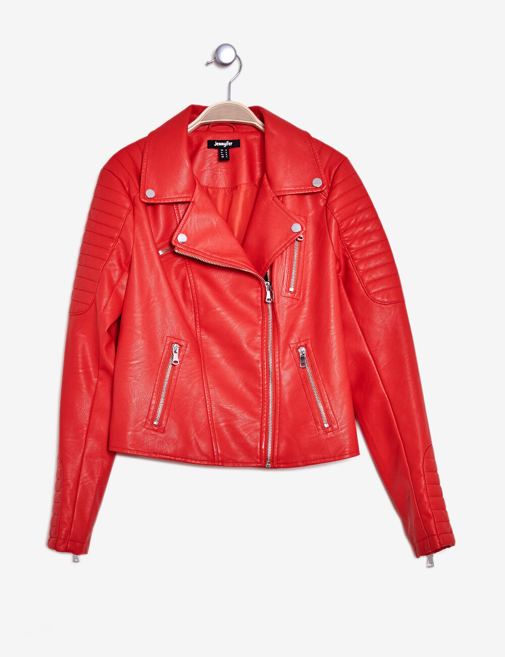 Veste simili cuir rouge jennifer