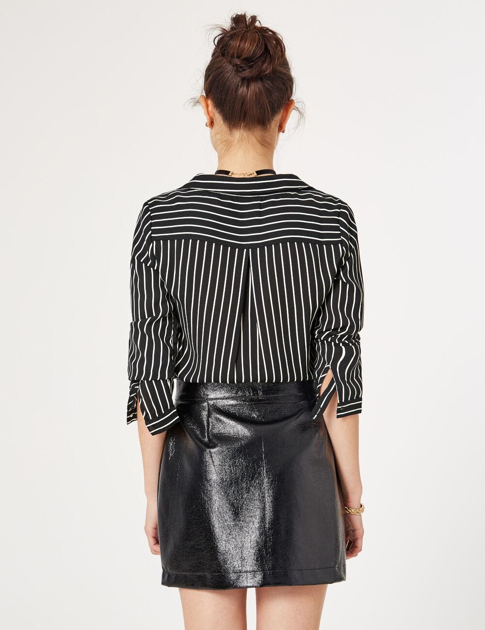 blouse rayé en mousseline noire et écrue