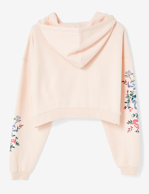 sweat court fleuri rose clair