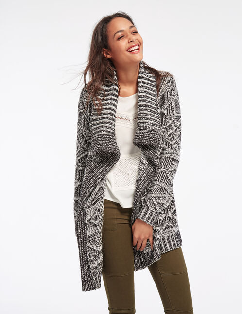 Black and white open cardigan with geometric motif