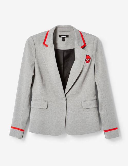 veste blazer à patchs gris chiné