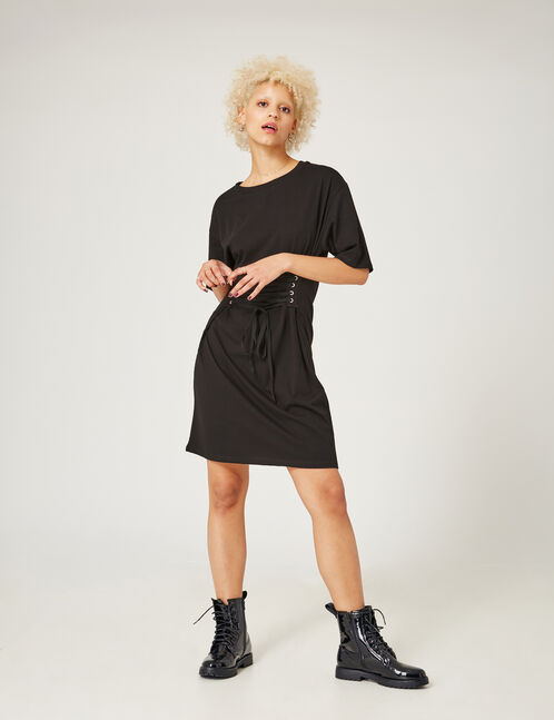 robe avec ceinture corset noire