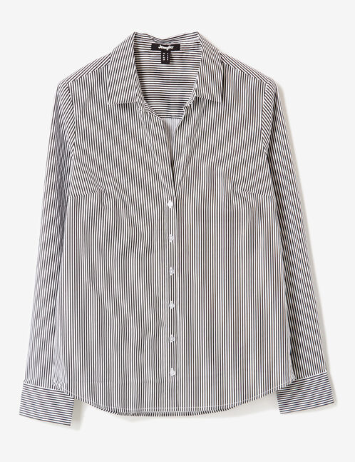 Black and white striped fitted shirt