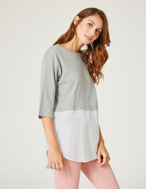 Grey marl and white mixed fabric top