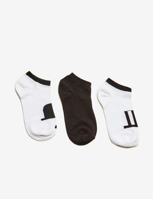 chaussettes motif chapeaux blanches et noires