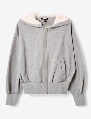 sweat zippée à capuche gris chiné