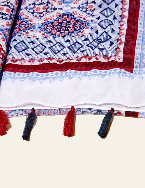 White, burgundy and navy blue printed scarf with tassels