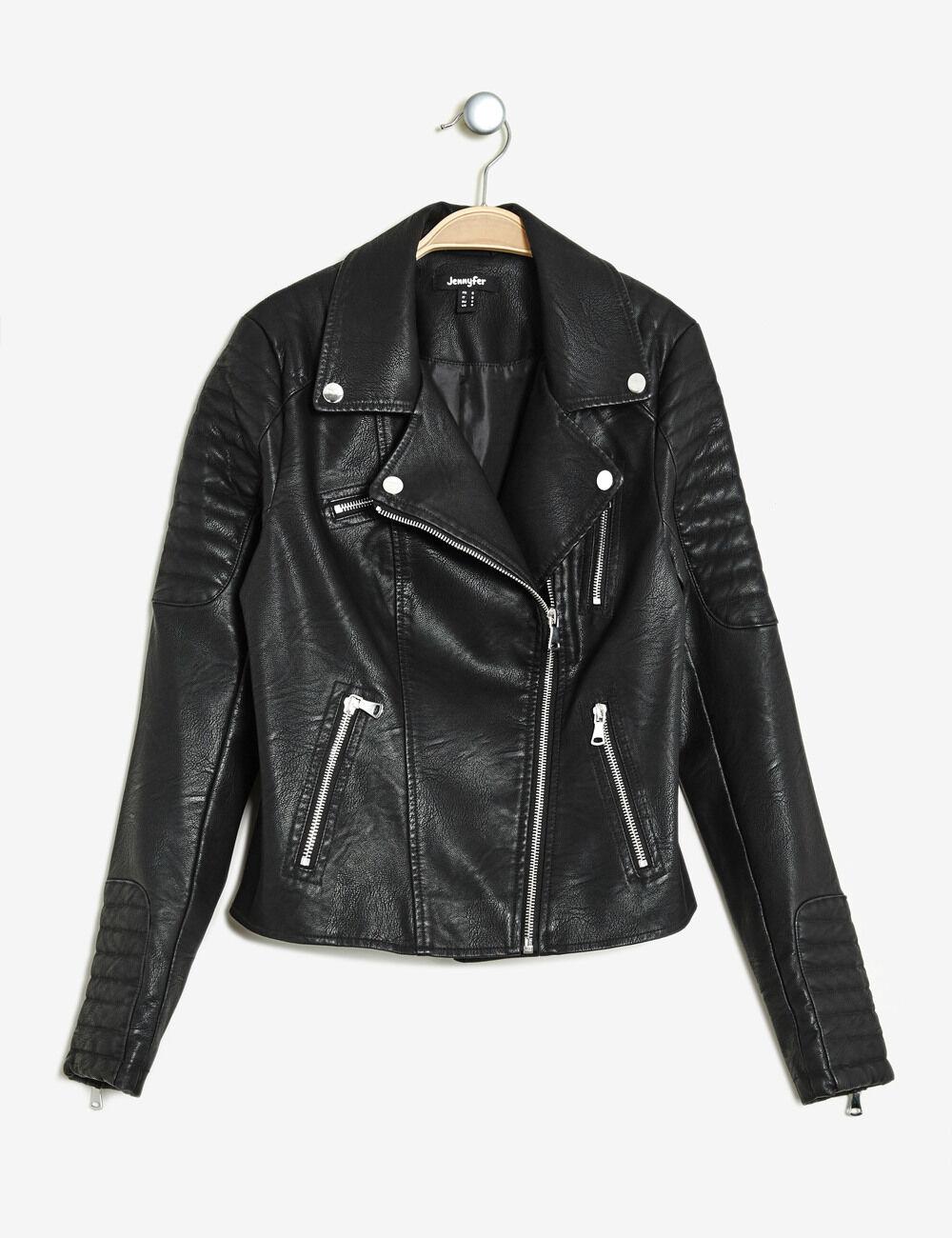 Veste biker noir femme jennyfer for Veste noir interieur ecossais