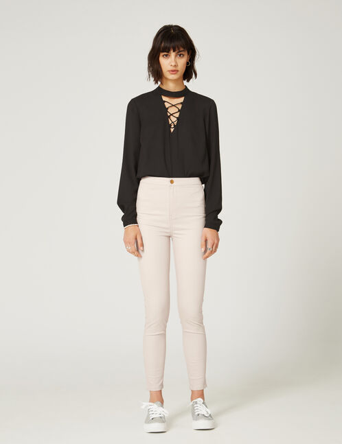 Nude super high-waisted jeggings