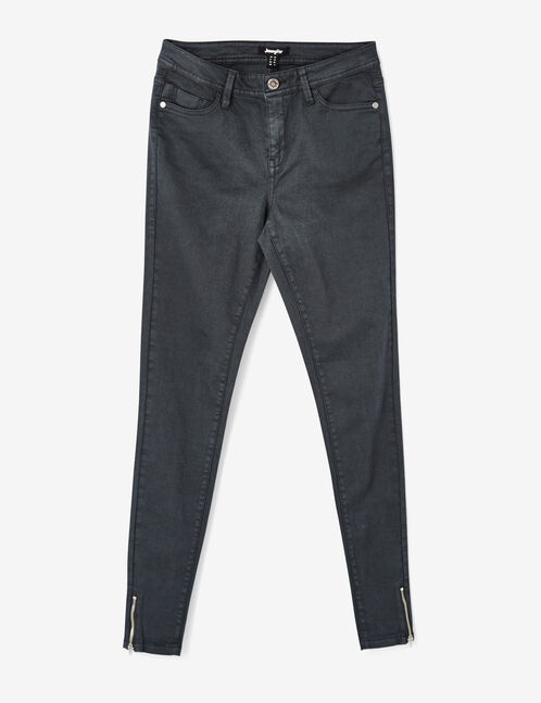 Charcoal grey trousers with decorative zip detail