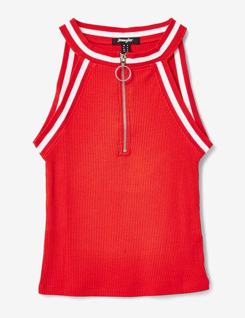 top zippé rouge