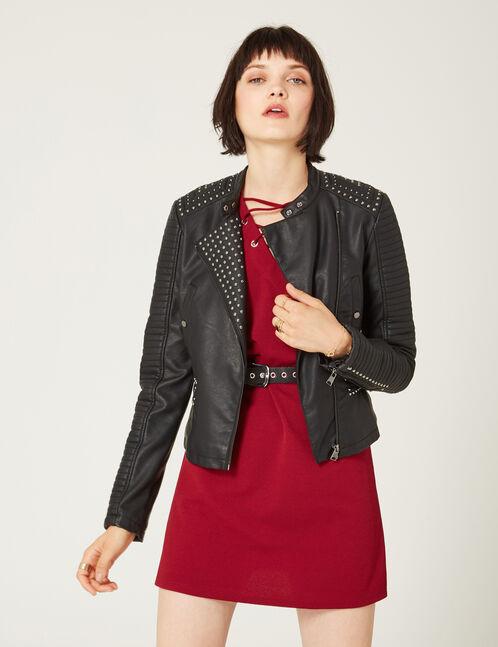 Black studded biker jacket
