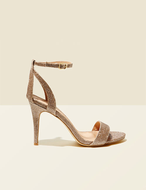 sandales pailletées à talons dorées