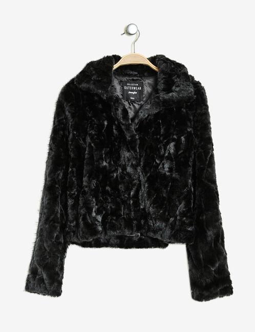 veste fausse fourrure courte noire