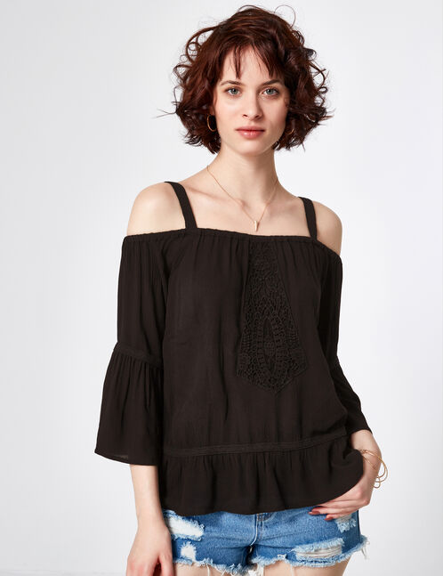 Black cold shoulder blouse