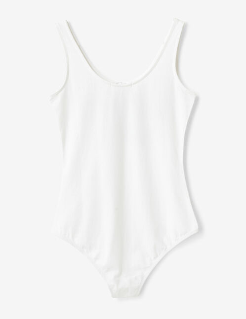 White bodysuit with text design detail
